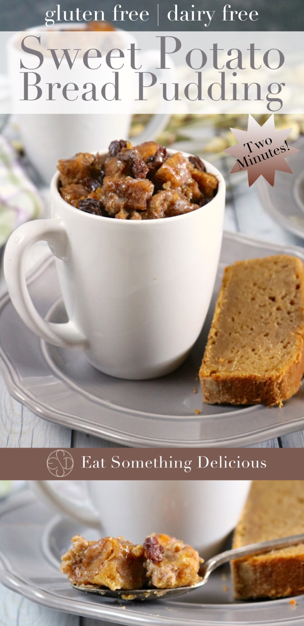 Two Minute Sweet Potato Bread Pudding | Gluten free, dairy free bread pudding in a mug made from leftover sweet potato bread. Cooks in the microwave in just 2 minutes. | eatsomethingdelicious.com