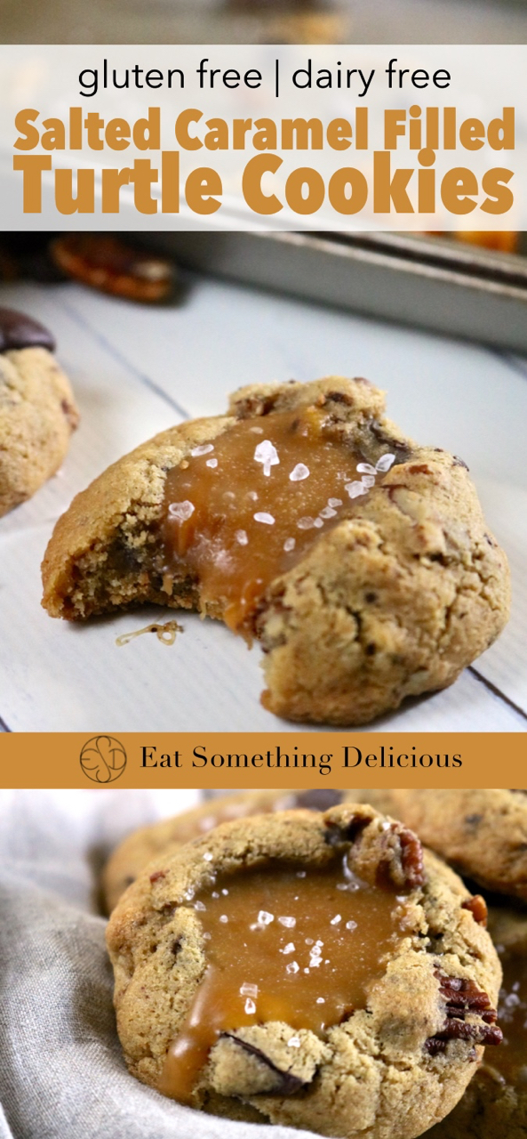 Salted Caramel Filled Turtle Cookies | Soft baked gluten free turtle cookies with chocolate and pecans are dented in the center to make room for lots of dairy free salted caramel sauce! | eatsomethingdelicious.com