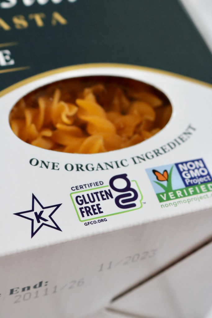 Up close of pasta packaging with the certified gluten free label in focus.