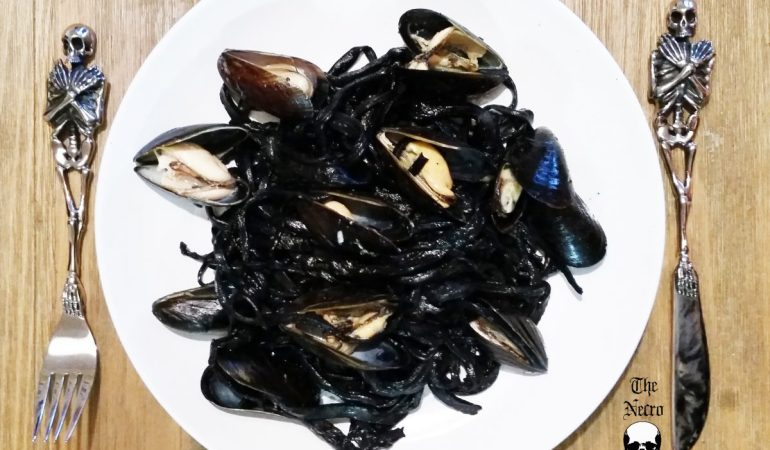 squid ink black pasta for Halloween