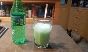 frog foam edible slime foaming up in the glass