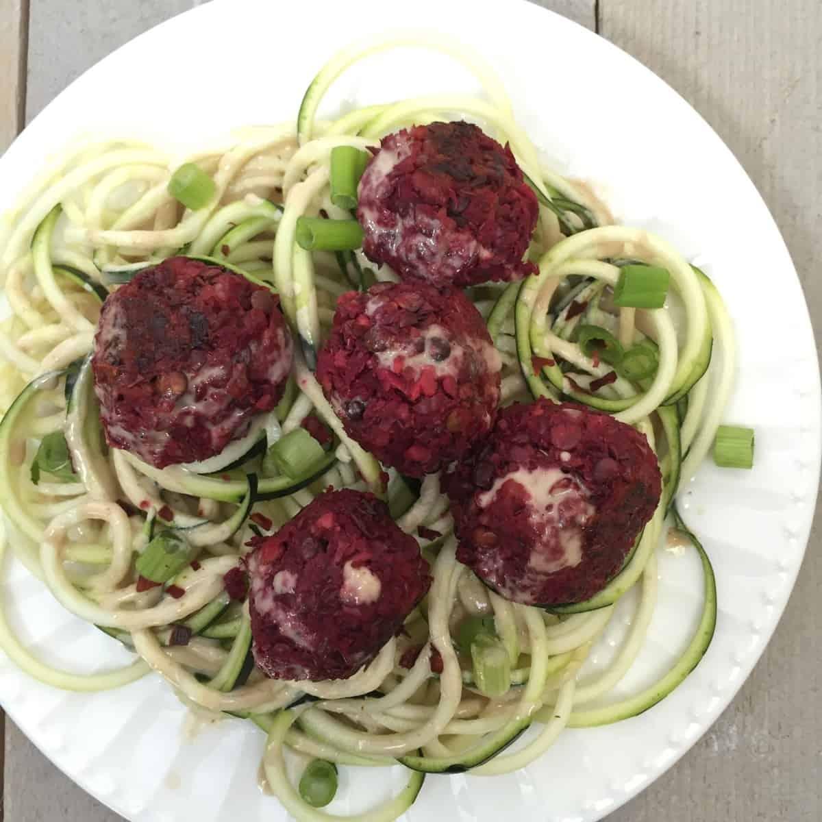 Beet, Lentil, & Ginger Meatballs