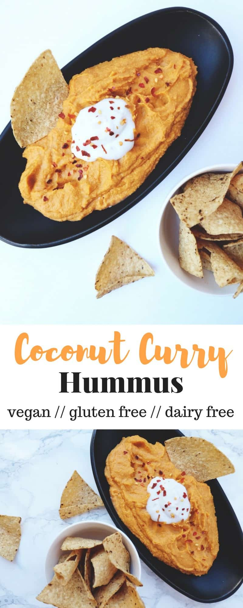 An upgradedversion of you favorite dip, this Coconut Curry Hummus is a little spicy and sweet and makes for a delicious creamy, dairy free, and vegan hummus - Eat the Gains