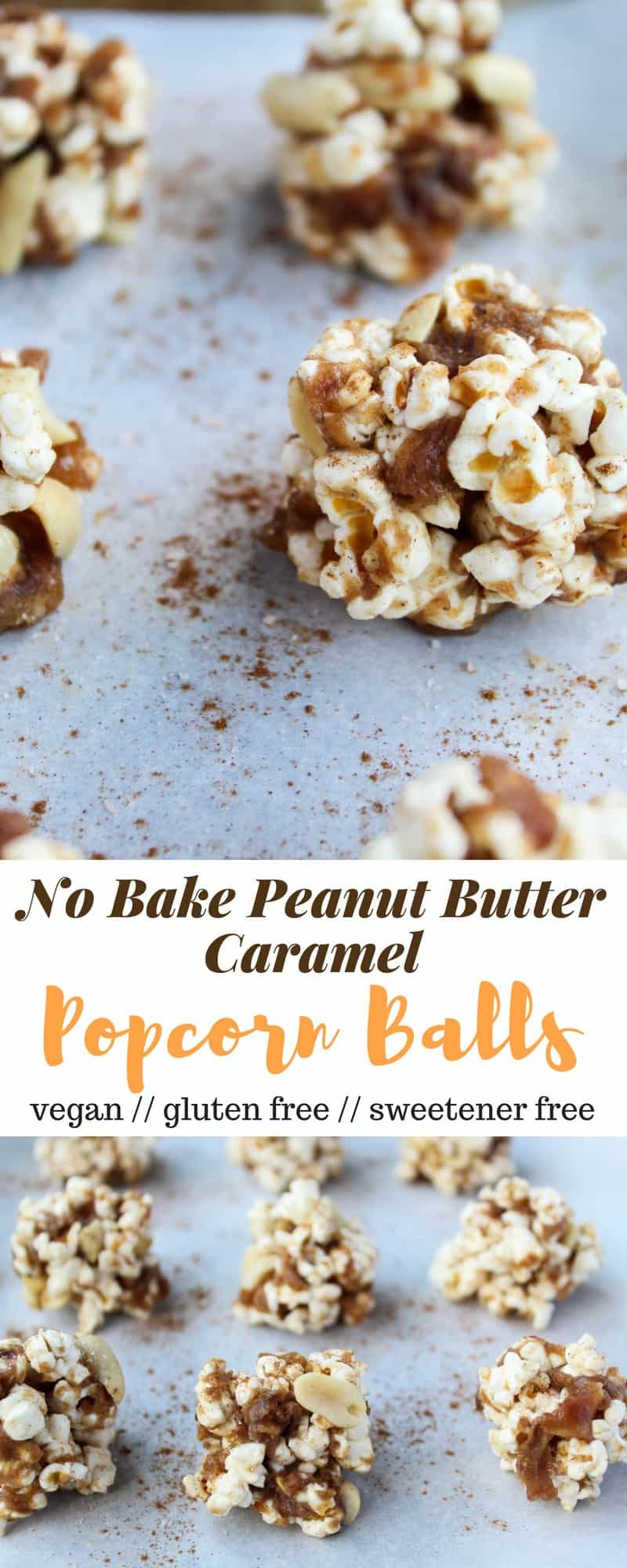 No bake and 30 minutes to make, these Peanut Butter Caramel Popcorn Balls are the perfect holiday snack. No added sweetener, vegan, and gluten free! - Eat the Gains