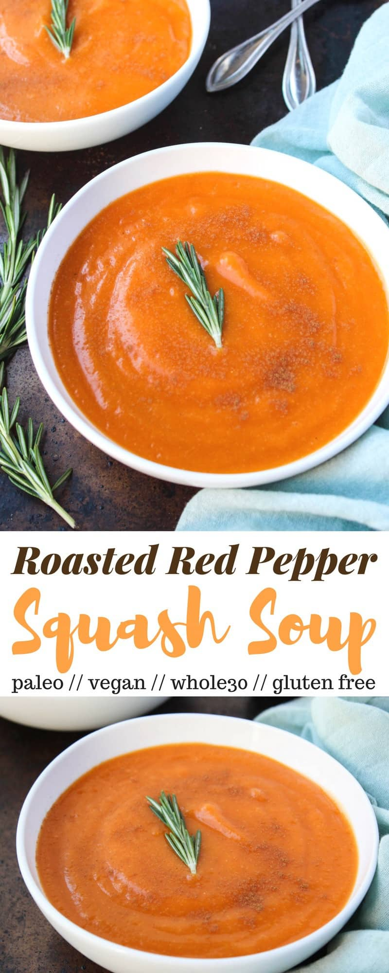 An easy,creamyveggie based soup, thisRoasted Red Pepper & Squash Soup is perfect for chilly nights. A few ingredients make it vegan, paleo, dairy free, and Whole30 compliant - Eat the Gains