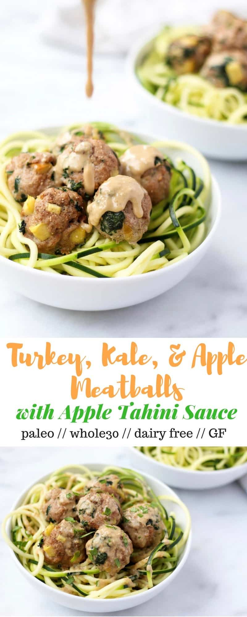 Protein, veggies, and fruit packed, these Turkey, Kale, & Apple Meatballs come together in less than 30 minutes and are paleo, gluten free, and Whole30 compliant! - Eat the Gains