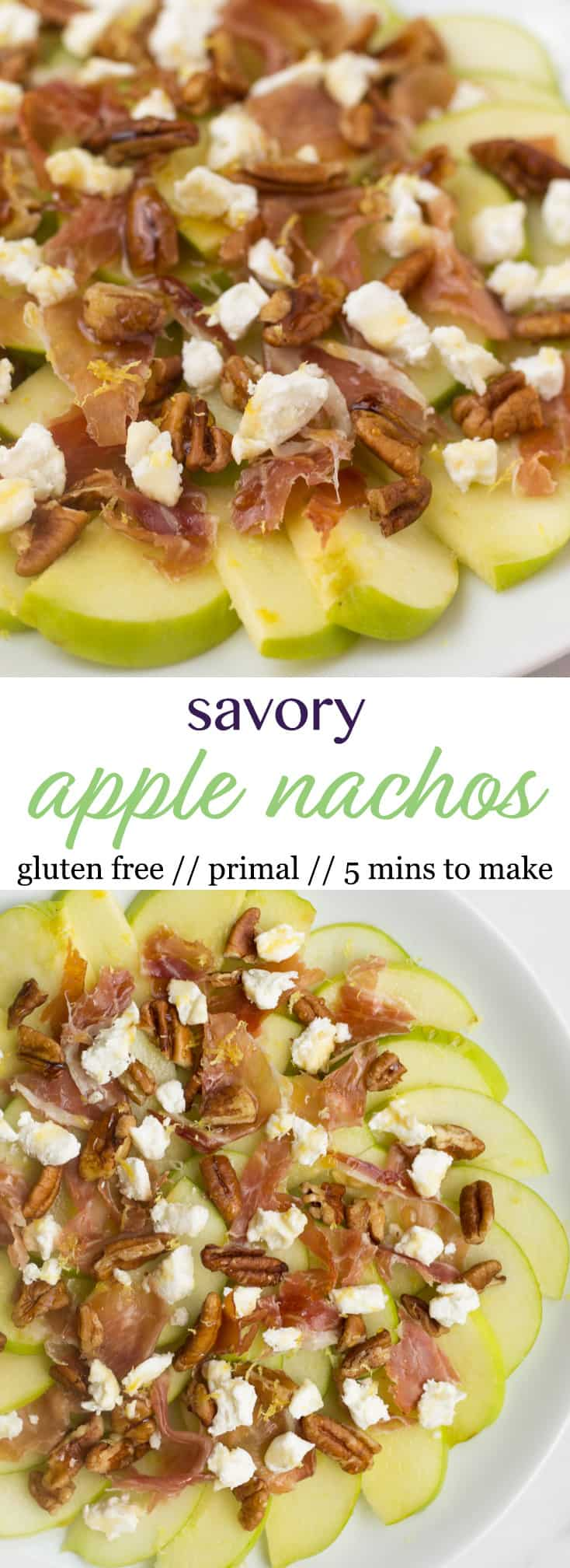 An easy fun fall recipe, these Savory Apple Nachos would be great for different occasions - an after school snack, a laid back get-together, and even a football tailgate! - Eat the Gains
