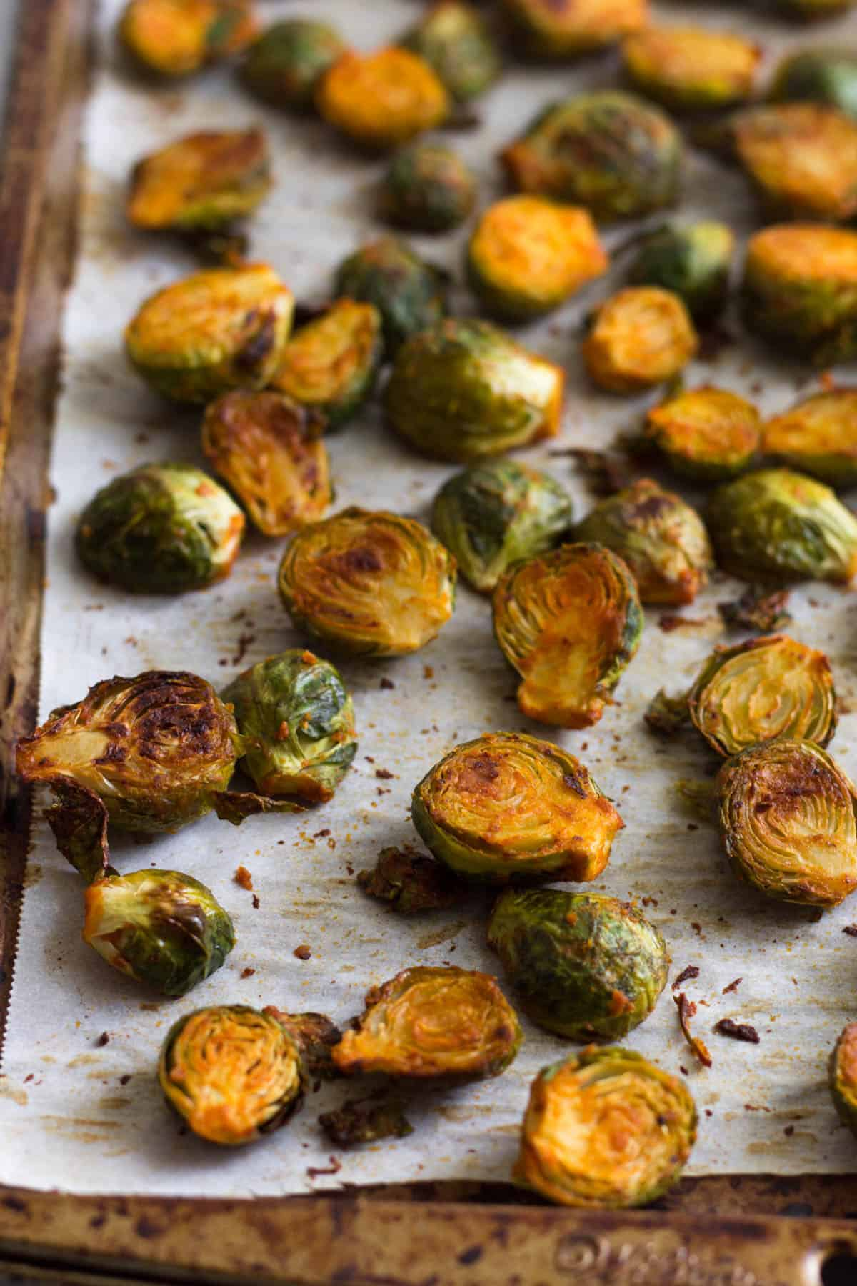 Pan of roasted buffalo brussel sprouts