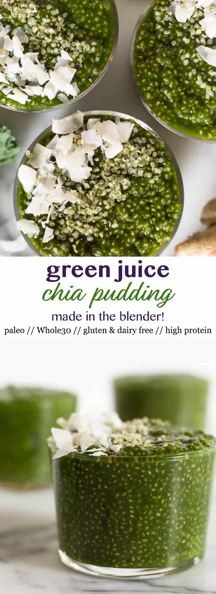 Pinterest image green juice chia pudding