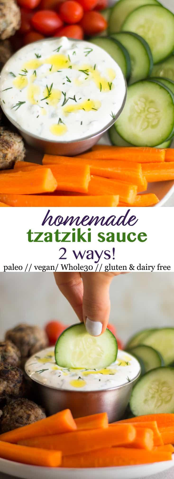 Pinterest image for How to Make Tzatziki Sauce 2 Ways