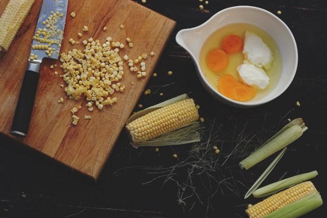 corn and ricotta tart prep
