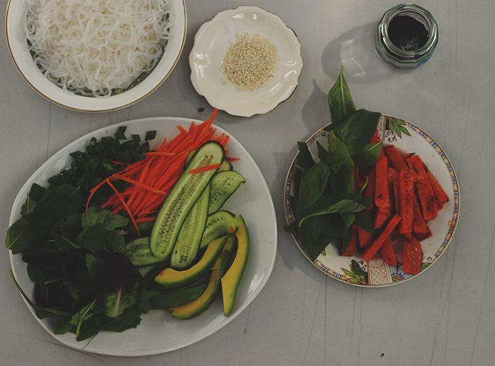 rice paper rolls prep 2