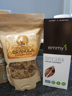 Michelle's Pumpkin Spice Granola and Emmy's Cacao Coconut Cereal (GF vegan)