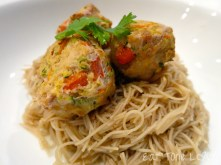 Asian Style Turkey Meatballs over Rice Noodles