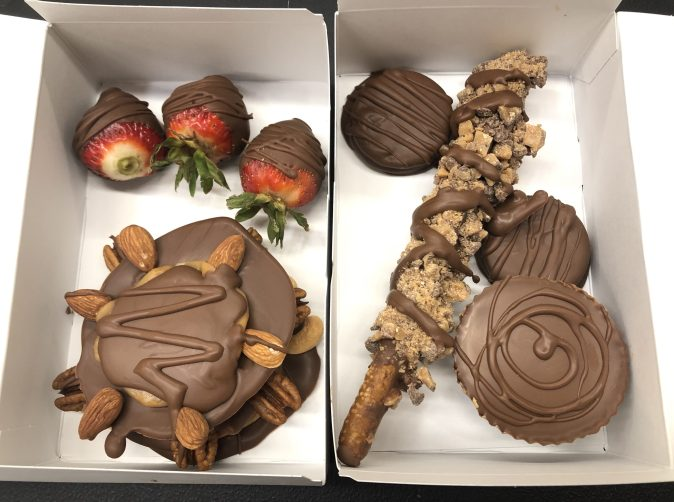 chocolates, chocolate dipped strawberries, chocolate dipped oreos, caramel turtles, heath pretzel stick