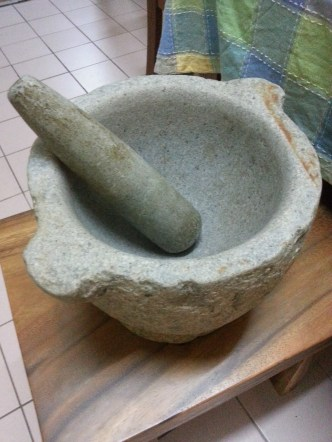 Grandmother's well-worn mortar and pestle