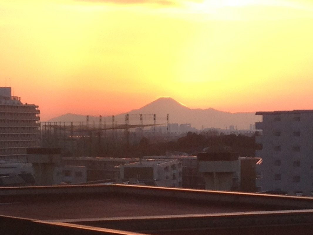 The sun went down in the right direction of Mt.Fuji.