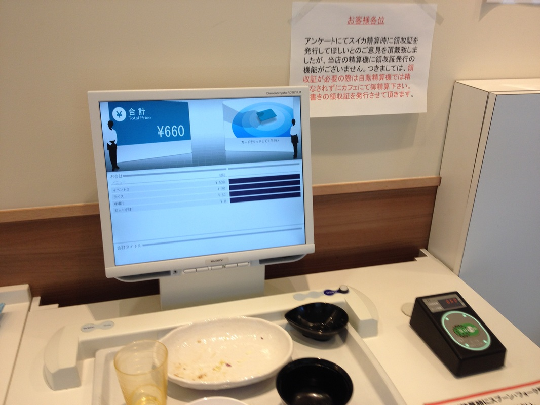 checkout counter - tap your Suica Card on the right card reader