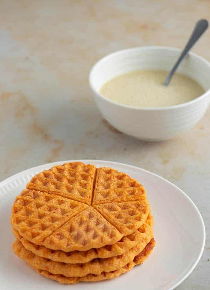Akara prepared in a waffle maker served in a plate