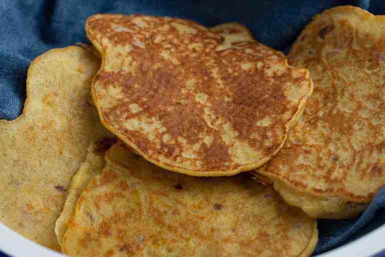 Savoury plantain pancake in a bowl