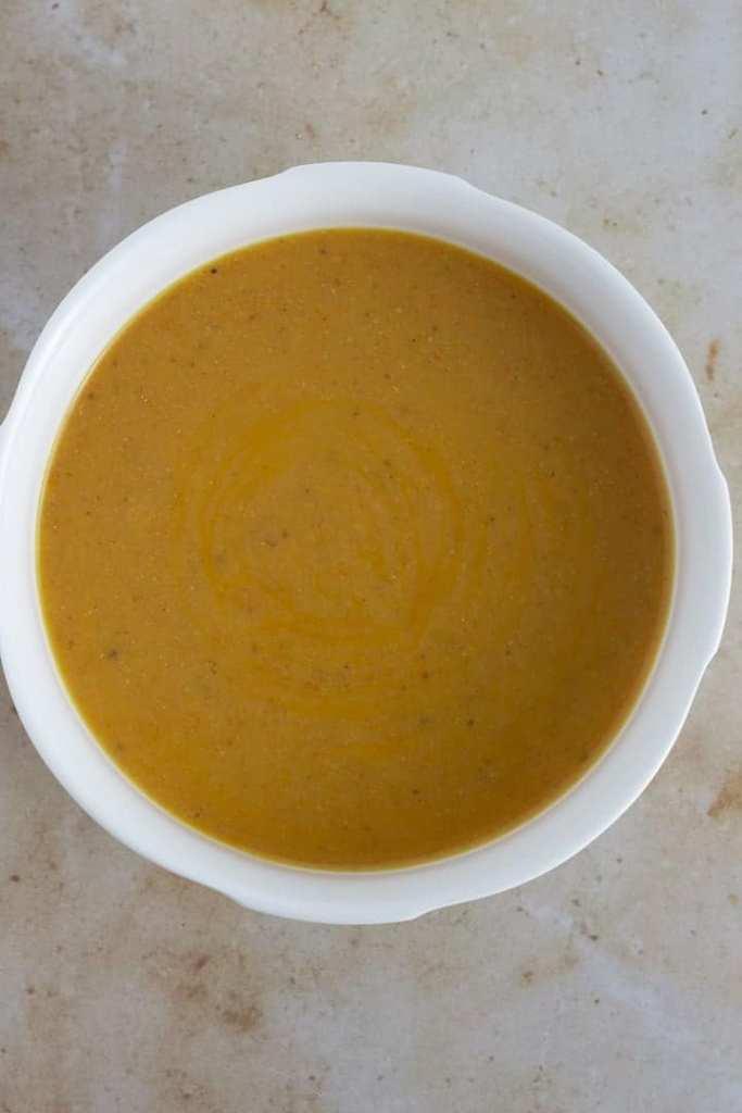 Gbegiri soup. Nigerian bean soup in a white bowl
