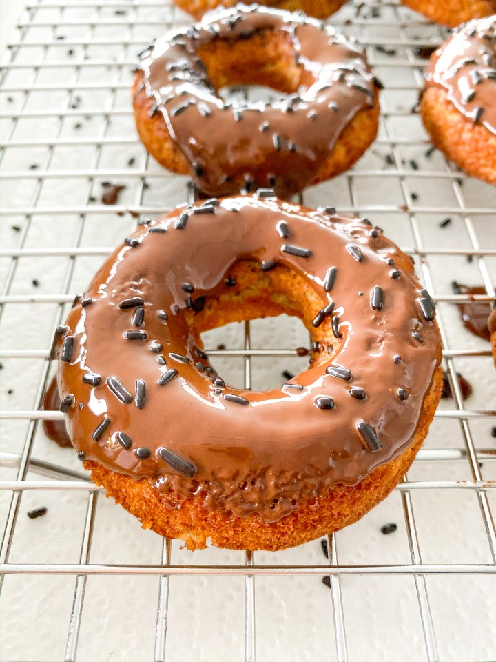 Banana Bread Donuts with Chocolate Frosting