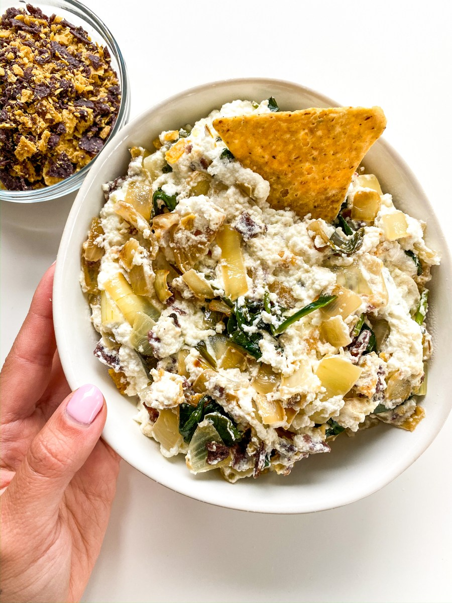 Crunchy Loaded Baked Spinach & Goat Cheese Dip