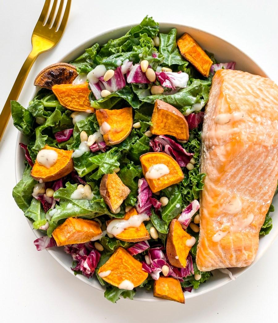 Ranch Kale Salad w/ Salmon
