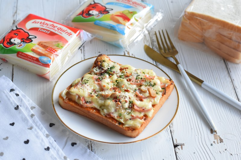 Easy Pizza Toast with The Laughing Cow Cheese Slice