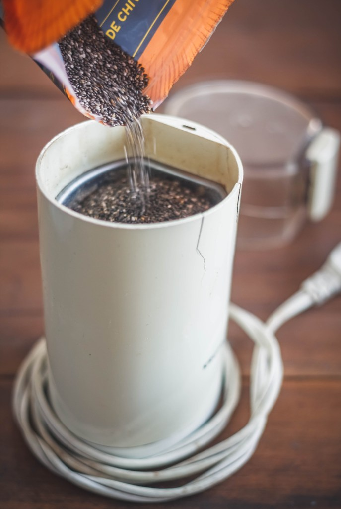 Coffee grinder with chia seeds.