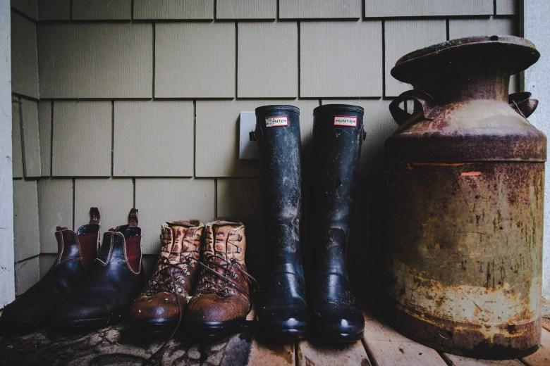 Waterlogged farm boots.