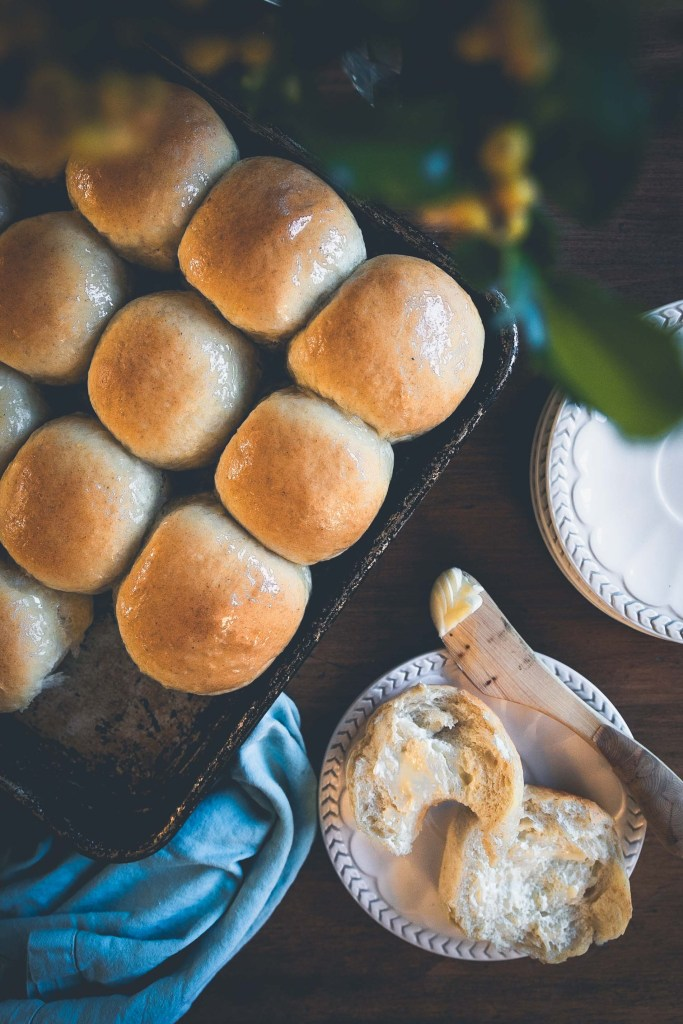 These vegan dinner rolls are so tender they melt in your mouth. This rich egg and dairy-free dough can be used as a base for challah, cinnamon buns, or to create farmhouse sandwich loaves.