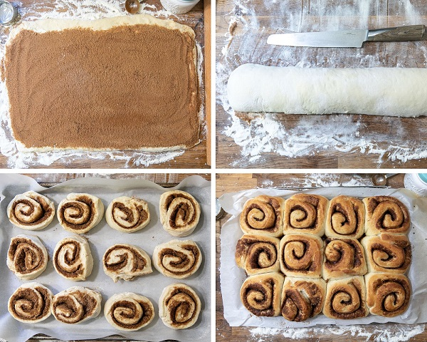 Vegan cinnamon roll how-to in pictures.