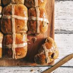 chai spiced vegan hot cross tea buns