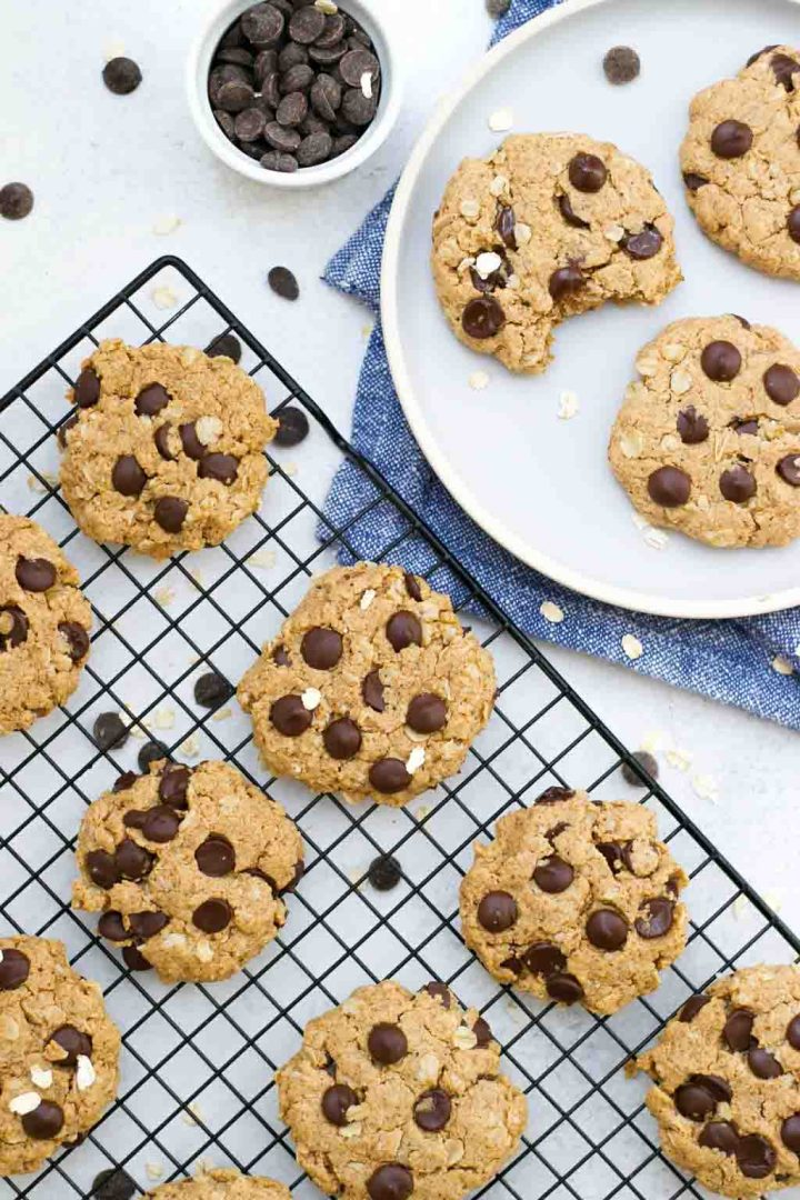 Easy, vegan, chewy oatmeal chocolate chip cookies.