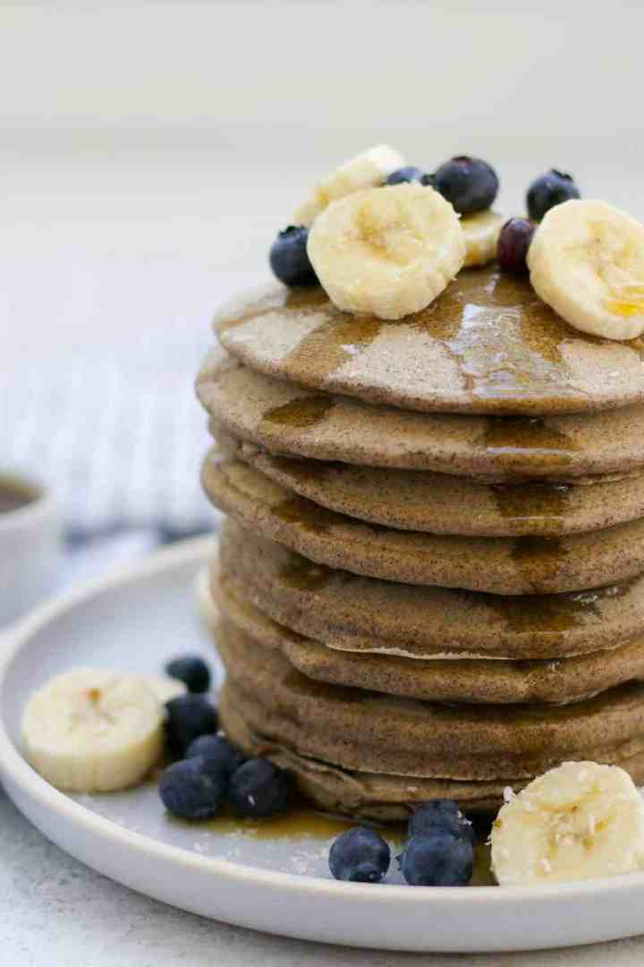 Fluffy, gluten free, protein rich, and so easy to whip together, these protein buckwheat pancakes are a healthy and delicious Saturday morning breakfast.