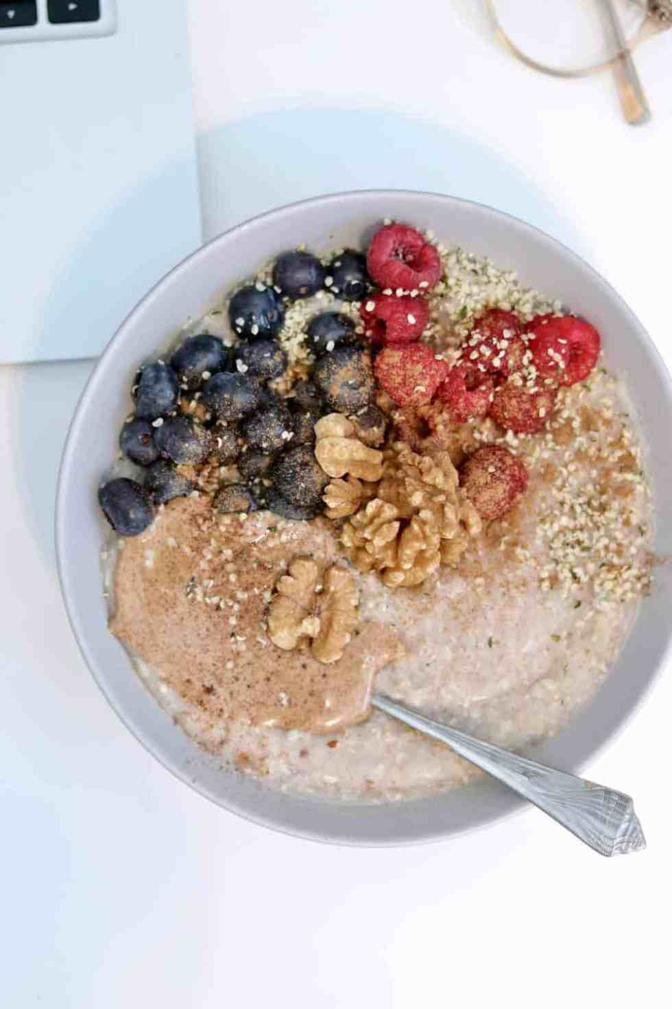 What I eat in a day always varies, but today I had buckwheat porridge.