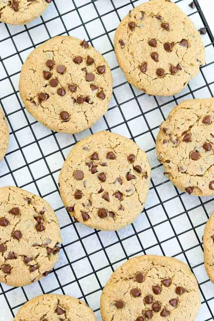 A bunch of vegan gluten free chocolate chip cookies on a black cooling rack.