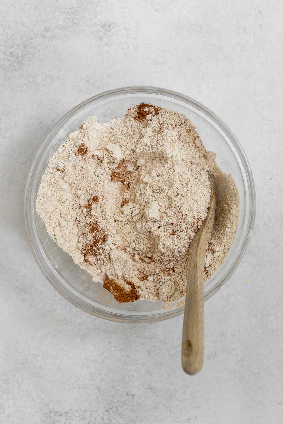 Mixing the dry ingredients together.