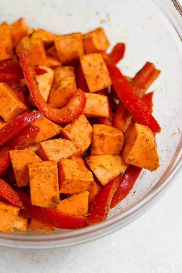 Seasoned sweet potato and peppers.