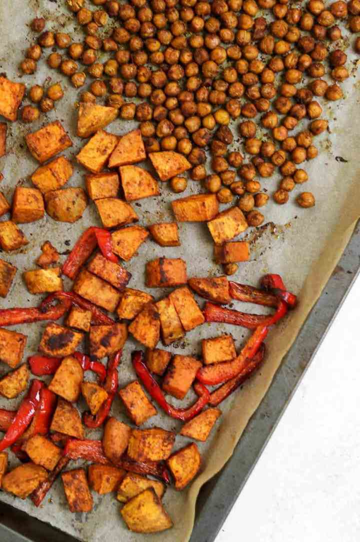 Sweet potato and chickpeas after getting roasted.
