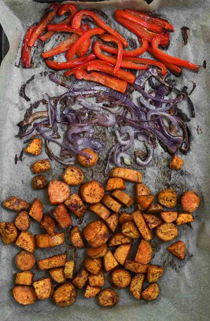 Baked sweet potatoes and onion and peppers.