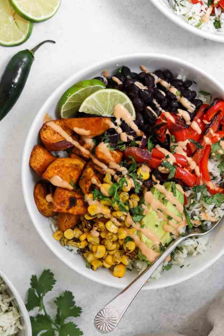 Vegan burrito bowl with sweet potato and black beans.