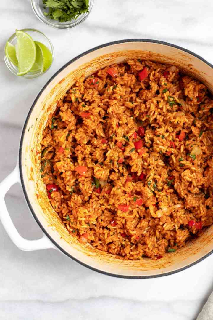 Vegan mexican rice in a large pot.