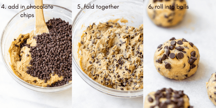 Three photos showing how to make the recipe.