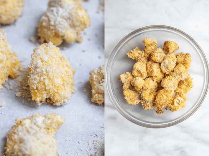 Two images showing the cauliflower before and after getting baked.