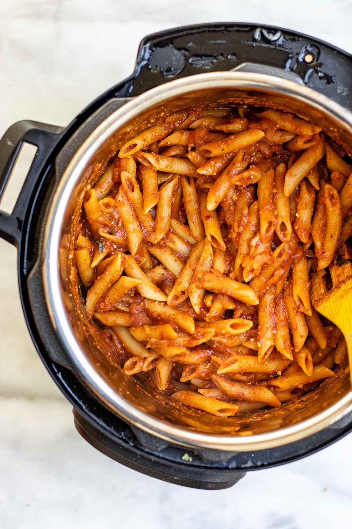 Instant pot pasta right after finishing cooking.