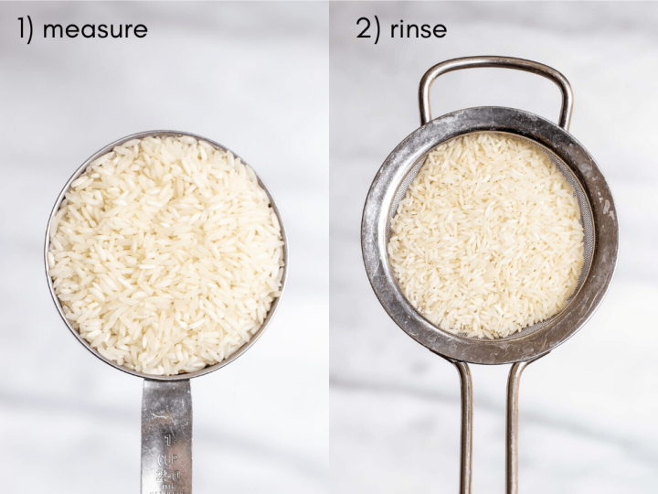 Two images next to each other to show the process of making the rice.
