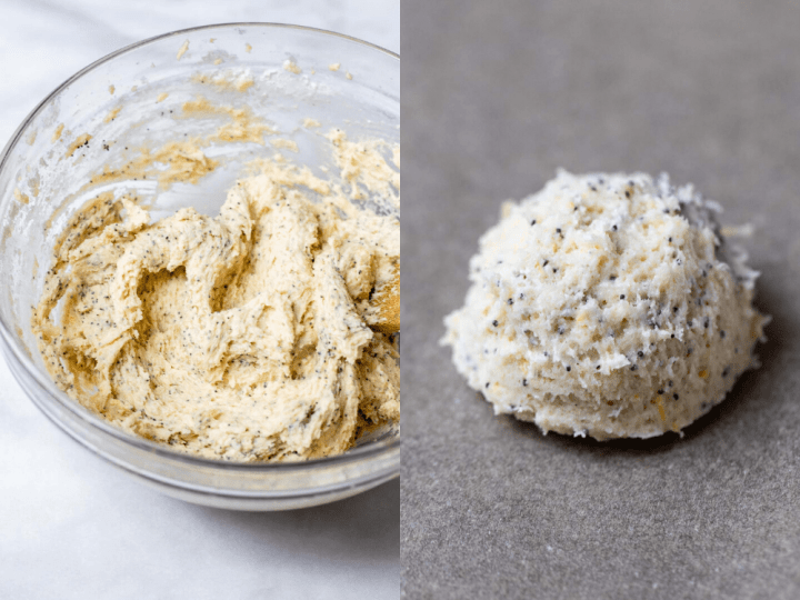 Two images showing the dough and unbaked cookie.