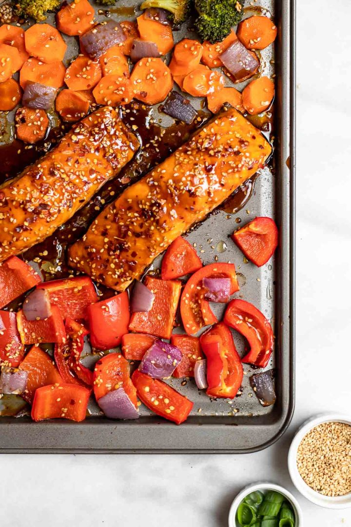 Up close of maple soy glazed salmon with vegetables.
